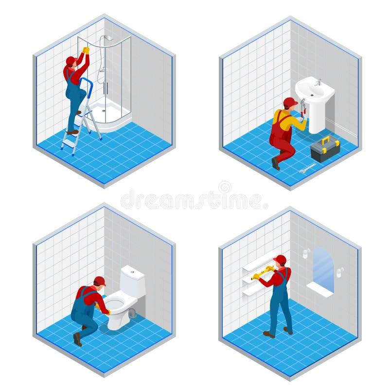 Isometrische loodgieter of arbeider met hulpmiddelriem die zich in badkamers vastgestelde concepten bevinden De reparatie isometr vector illustratie