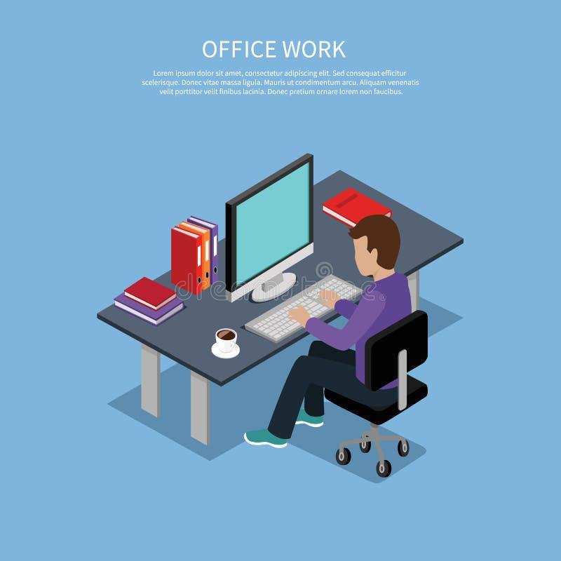 Isometrische Mann-Büro-Arbeits-Innenarchitektur lizenzfreie abbildung