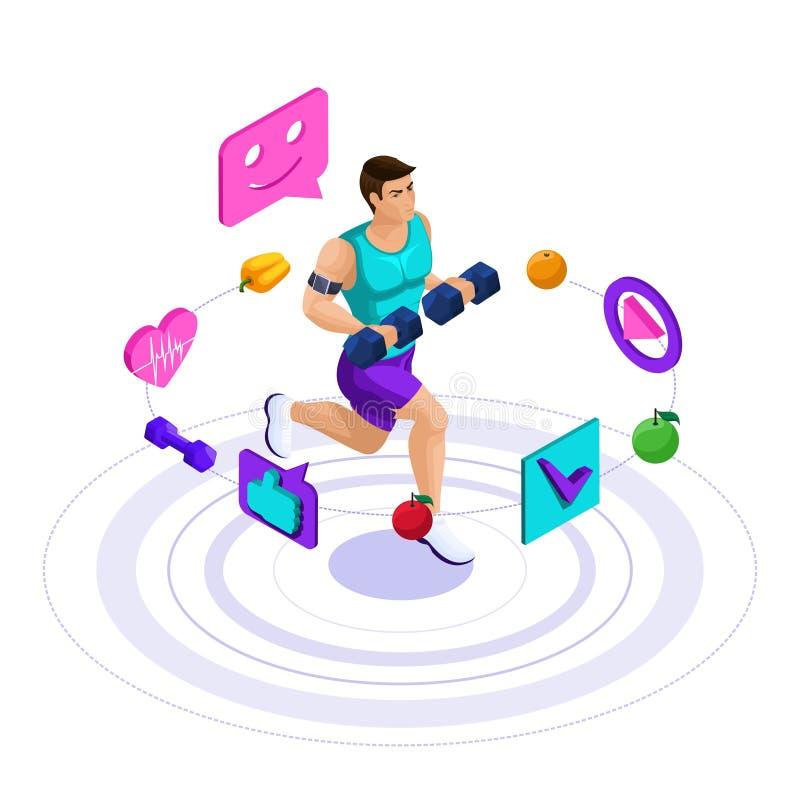 Isometrische mannelijke atleet, mooi sportenlichaam, treinen, het lopen, gezonde levensstijl Gezonde voeding, low-calorie dieet s royalty-vrije illustratie