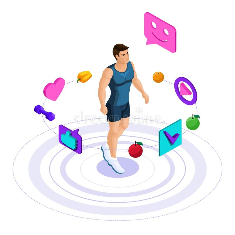 Isometrische mannelijke atleet, mooi sportenlichaam, treinen, het lopen, gezonde levensstijl Gezonde voeding, low-calorie dieet s stock illustratie