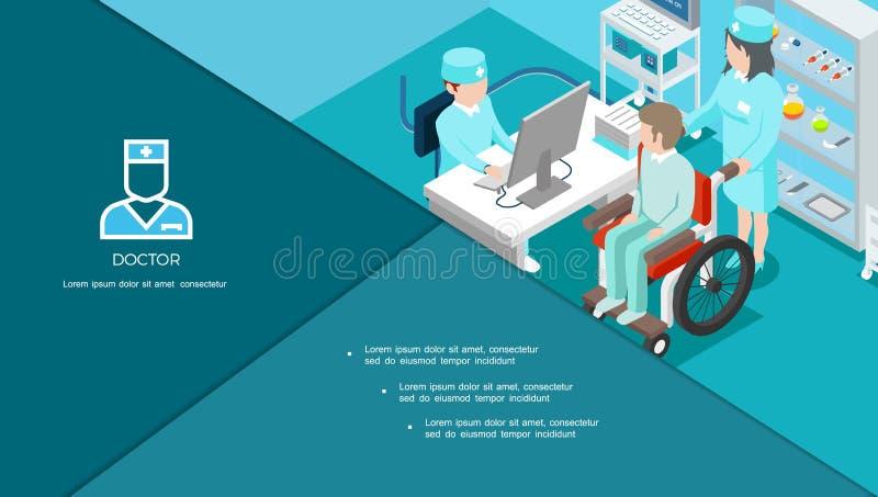 Isometrische Medisch Centrumsamenstelling stock illustratie