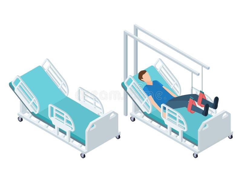 Isometrische medische apparatuur Het materiaal van de fysiotherapierehabilitatie vrij en met geduldige vectorillustratie vector illustratie