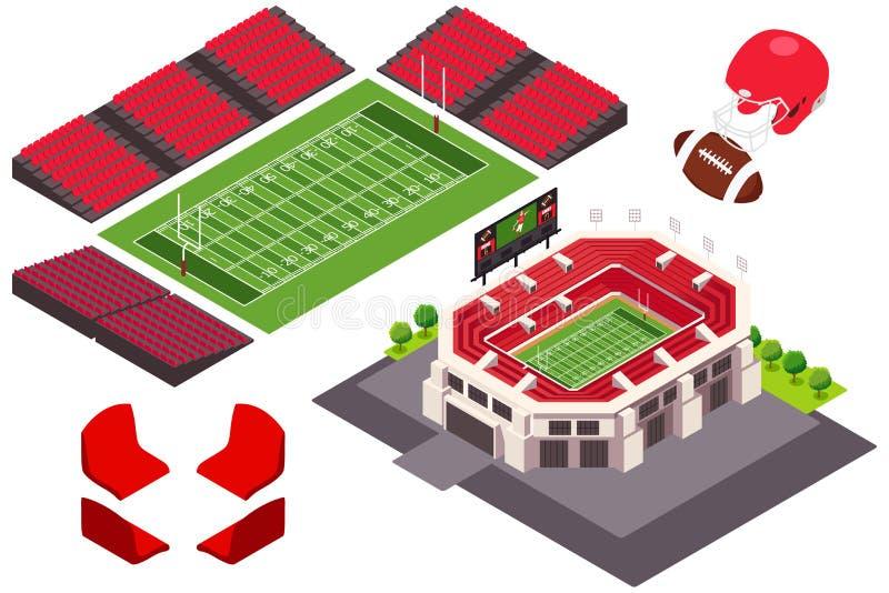Isometrische Mening van de Illustratie van het Voetbalstadion vector illustratie