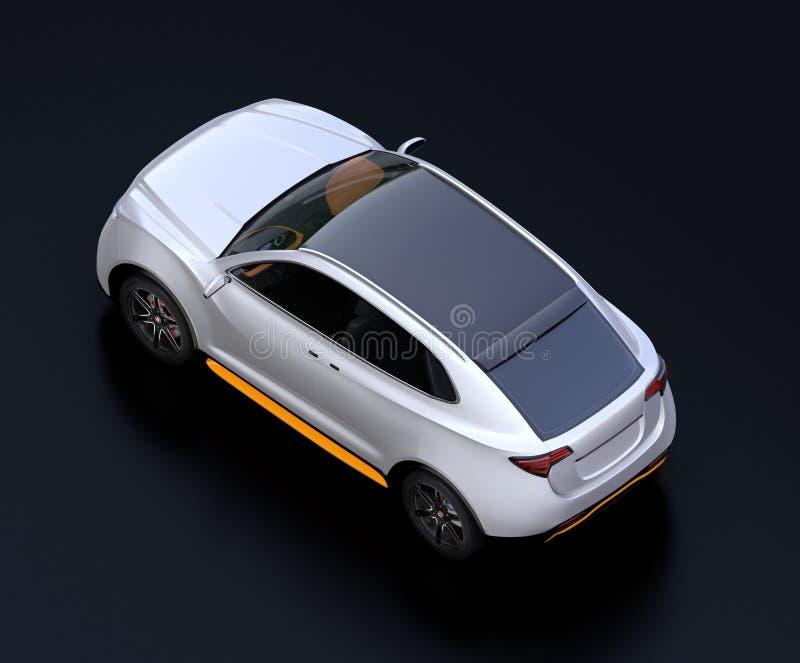 Isometrische mening van elektrische SUV-auto op zwarte achtergrond stock illustratie