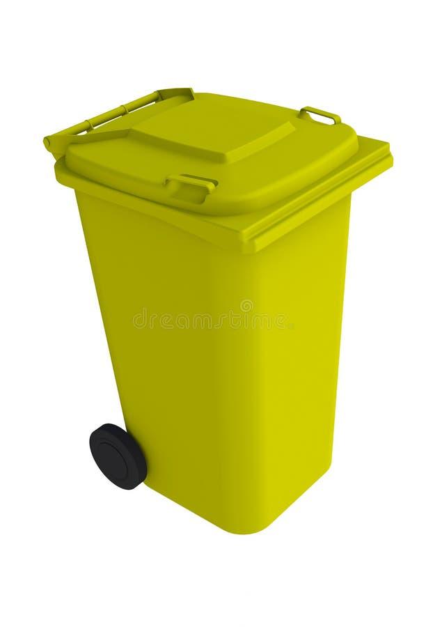 Isometrische mening van gele huisvuil wheelie bak met een gesloten deksel op een witte achtergrond stock illustratie
