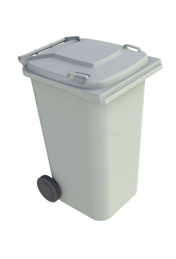 Isometrische mening van grijze huisvuil wheelie bak met een gesloten deksel op een witte achtergrond stock illustratie