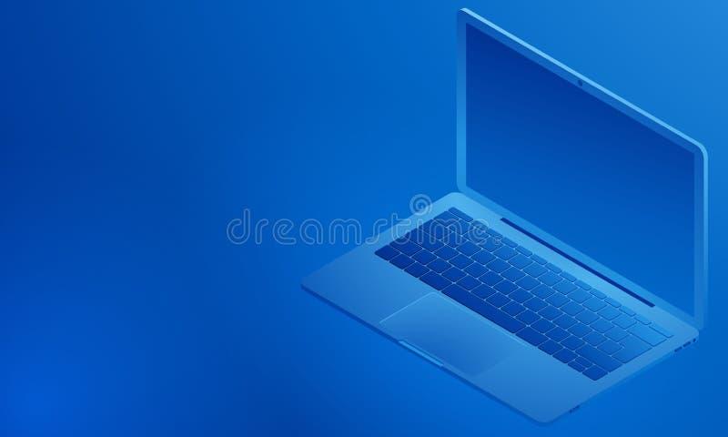Isometrische mening van open laptop, een blauwe achtergrond, of een beschikbare ruimte voor informatie Vector illustratie Eps 10 royalty-vrije illustratie
