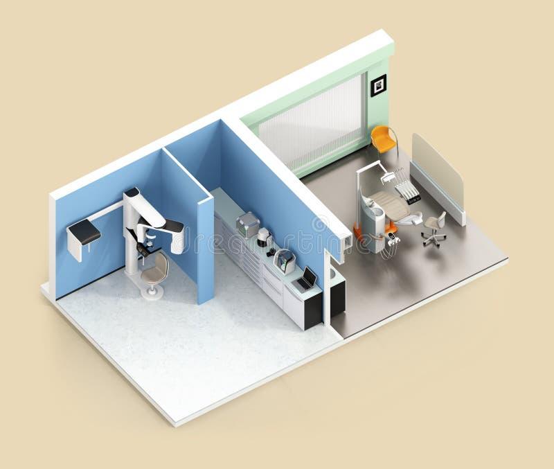 Isometrische mening van tandkliniekbinnenland met bedriegenen-Straalct, CADCAM, tandstoel en kabinetssysteem vector illustratie