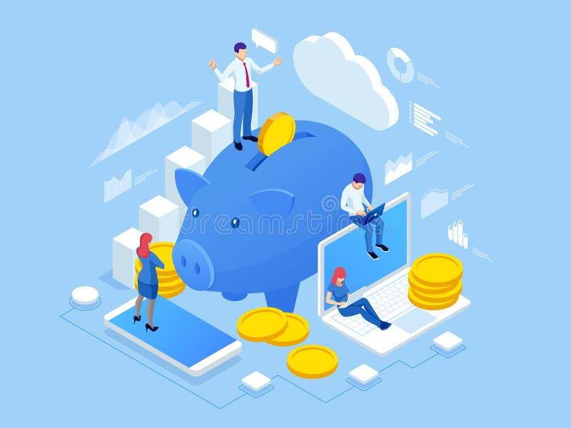 Isometrische mensen en Bedrijfsconcept voor Investering Investering en virtuele financi?n Handelsoplossingen voor investeringen vector illustratie