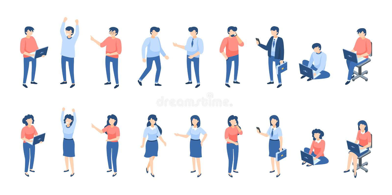 Isometrische mensen Mannelijke en vrouwelijke personen, verschillende zakenliedenstudenten en kinderen die op wit worden geïsolee royalty-vrije illustratie