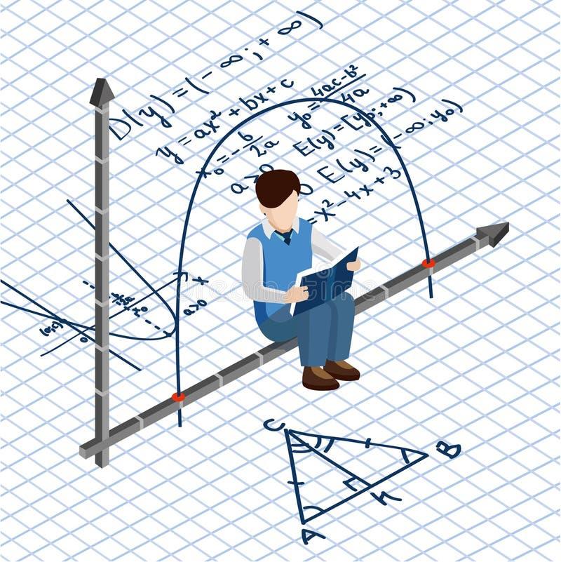 Isometrische mensen Schoolroutine Jongensstudent op de achtergrond van wiskundeformules vector illustratie