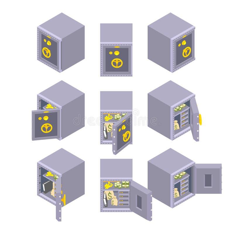 Isometrische metaal veilige opslag stock illustratie