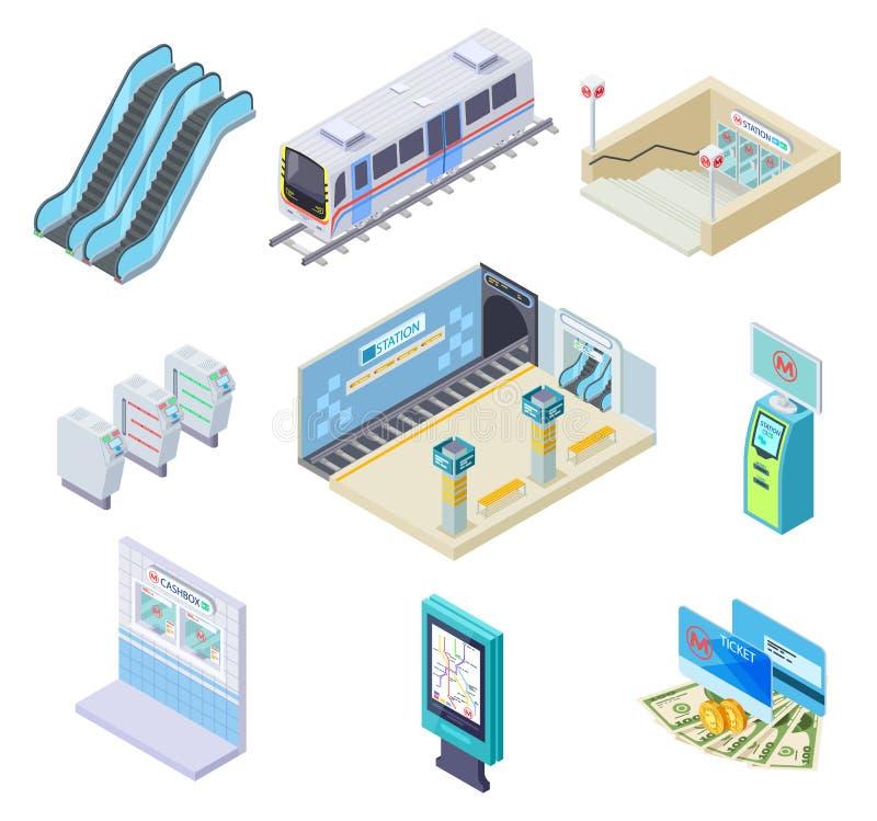 Isometrische metro elementen Metro, postplatform en roltrap, turnstile en ondergrondse tunnel 3d metro royalty-vrije illustratie