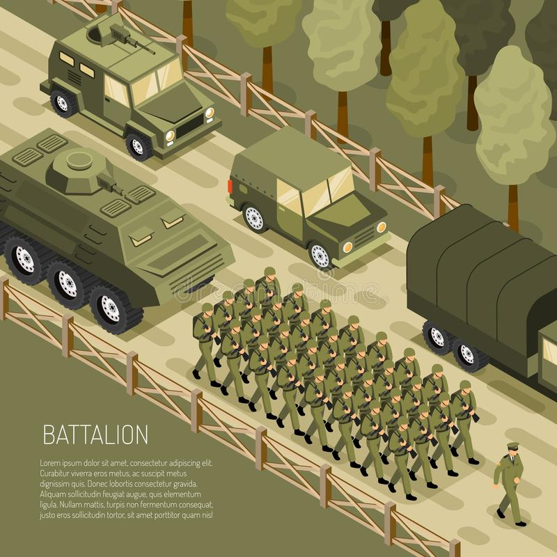Isometrische Militaire Campagneachtergrond royalty-vrije illustratie