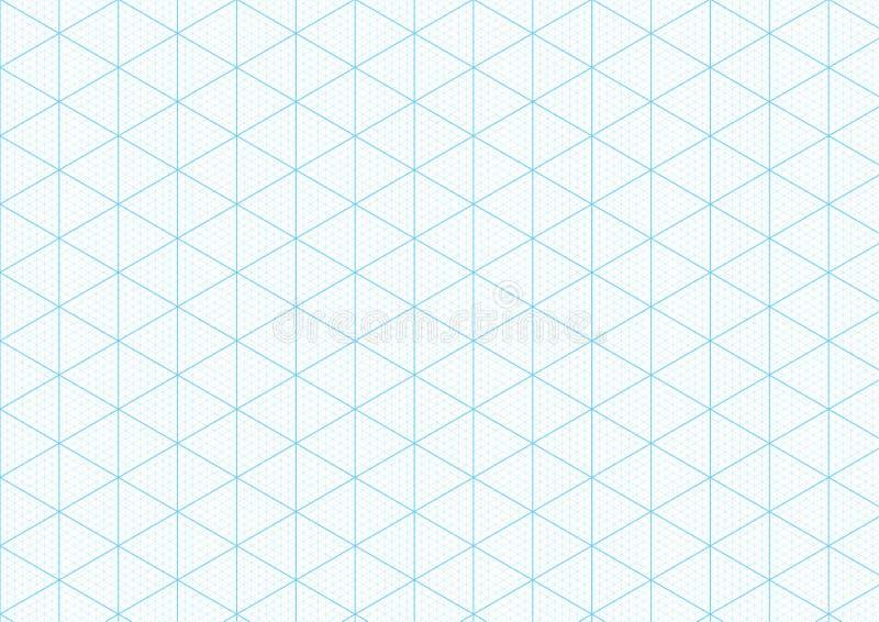 Isometrische millimeterpapierachtergrond die de driehoekige vectortekening van de het nettechniek van de heerserslijn in kaart br vector illustratie