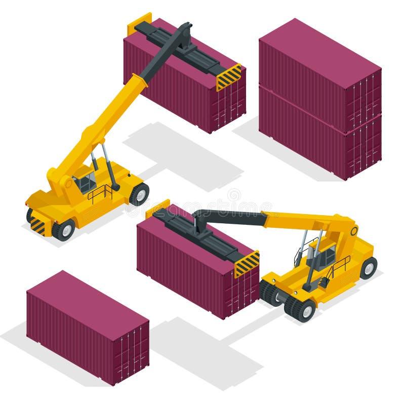 Isometrische Mobiele Containermanager in actie bij een containerterminal De kraan heft containermanager Geïsoleerde vector op vector illustratie