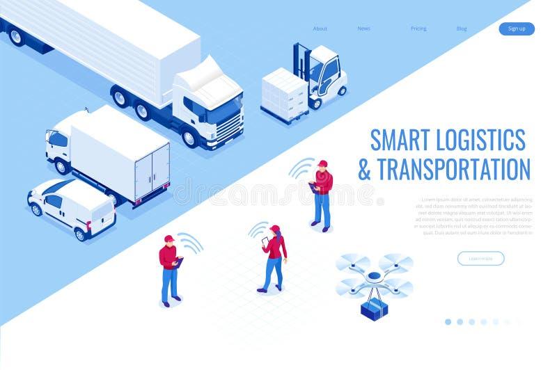 Isometrische Mobiele slimme telefoon met het mobiele app levering volgen Slim logistiek en vervoersconcept royalty-vrije illustratie