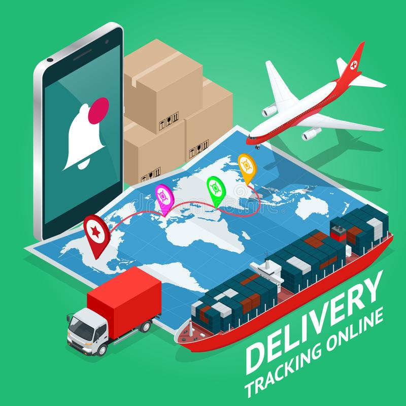 Isometrische Mobiele slimme telefoon met het mobiele app levering volgen Het vector moderne vlakke creatieve ontwerp van de infor vector illustratie