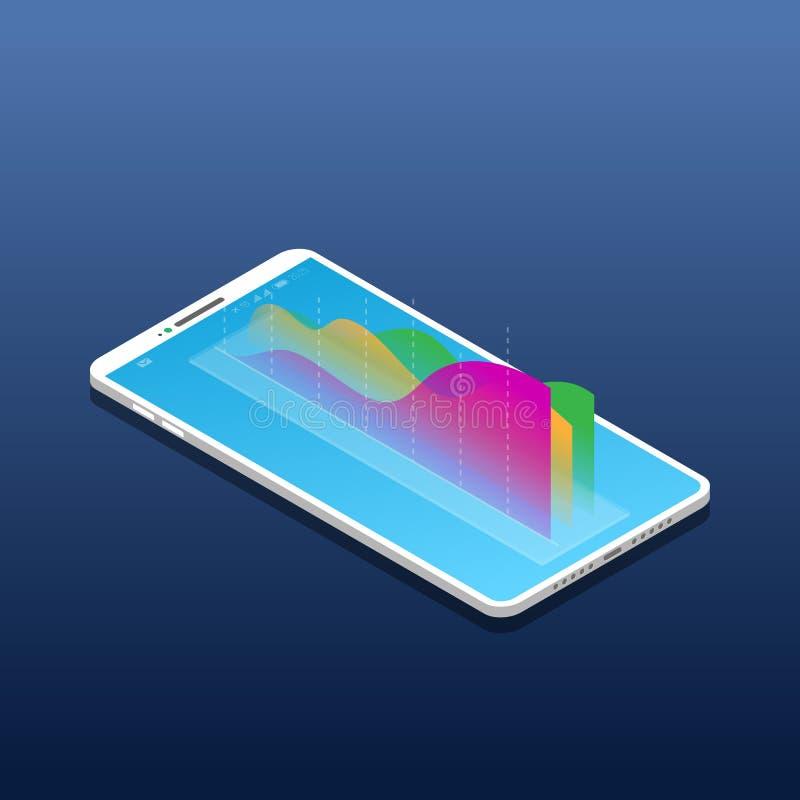 Isometrische mobiele telefoon en grafiek vector illustratie