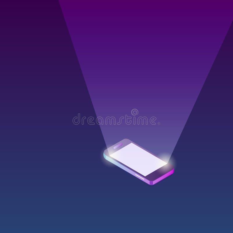 Isometrische mobiele telefoon met het bliksemscherm Malplaatje, muckup voor ontwerp, Webbanner enz. vector illustratie