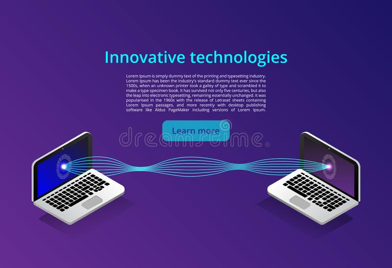 Isometrische moderne Computertechnologie und Vernetzungskonzept Netzwolken-Technologiegeschäft Internet-Datendienstleistungen vektor abbildung