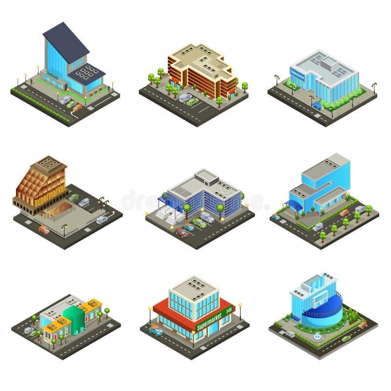 Isometrische Moderne Geplaatste Supermarktgebouwen royalty-vrije illustratie