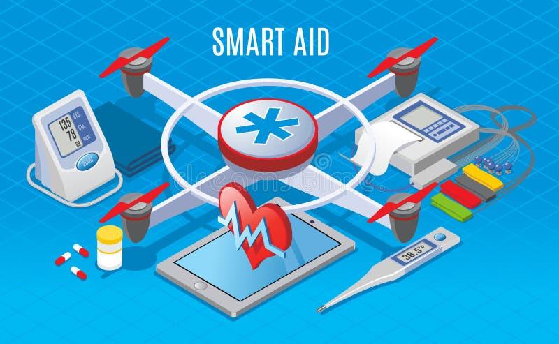 Isometrische moderne Geräte im Medizin-Konzept lizenzfreie abbildung