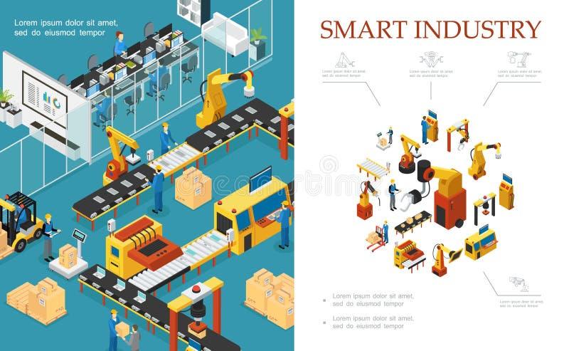 Isometrische moderne industrielle Industrieproduktions-Zusammensetzung lizenzfreie abbildung