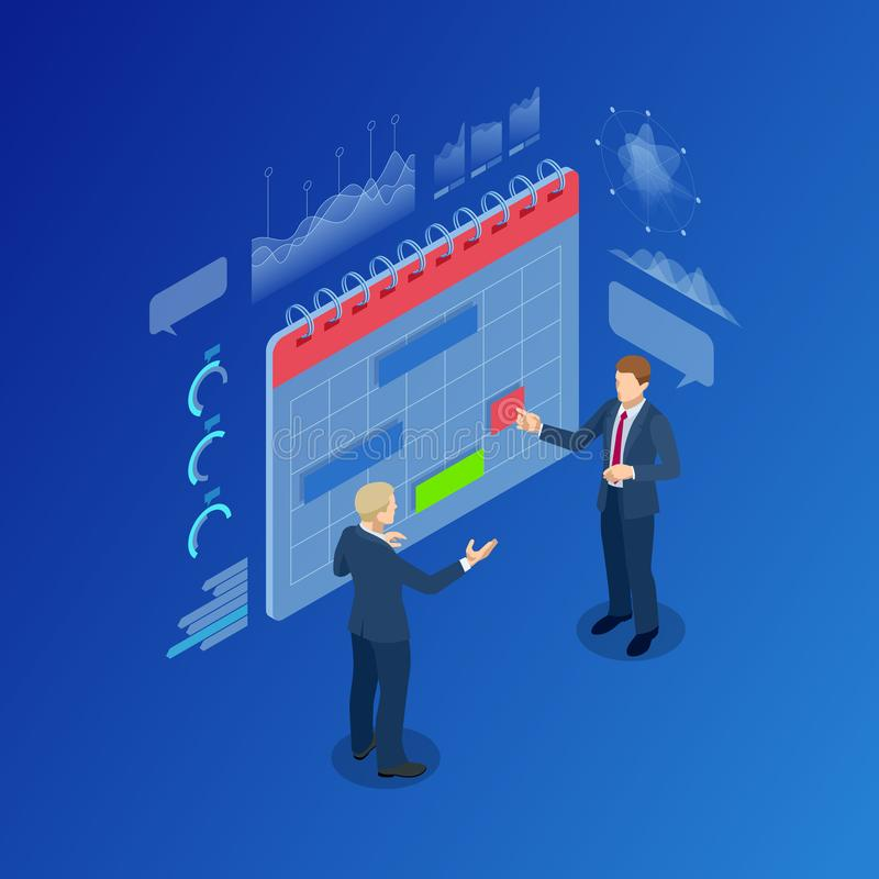 Isometrische moderne Leute-Planungsgeschäftsstrategie-Kalender-Planer-Organisation stock abbildung