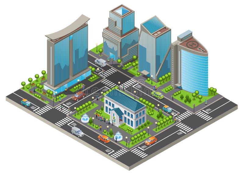 Isometrische moderne Stadtbild-Schablone stock abbildung