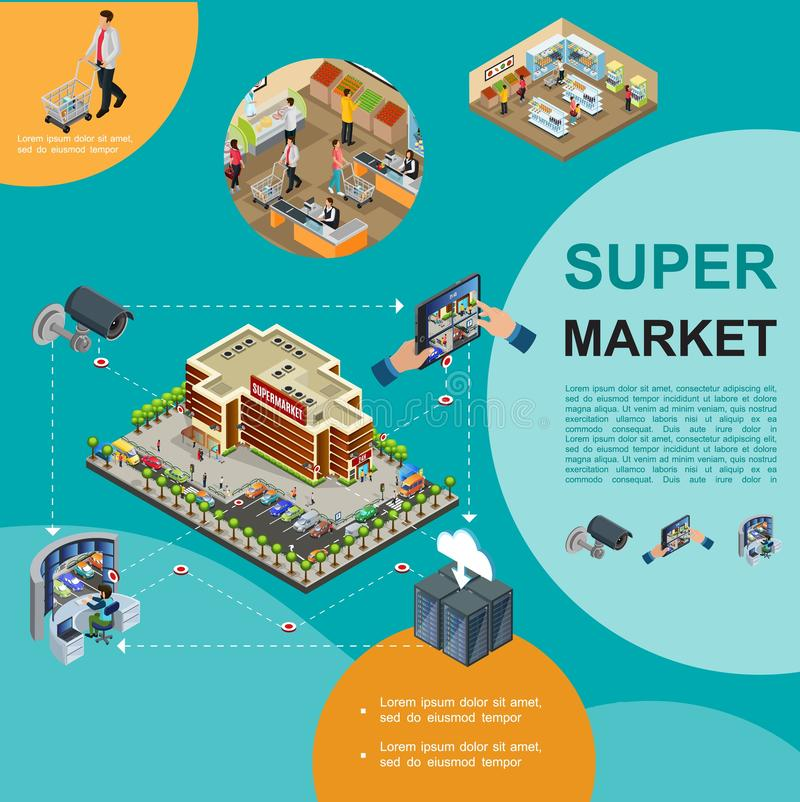 Isometrische moderne Supermarkt-Schablone vektor abbildung