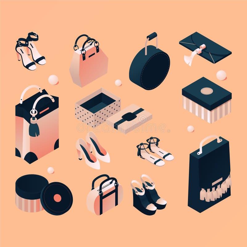 Isometrische modeverzameling van accessoires en pakketten voor vrouwen Handtassen, koppelingen, schoenen en sandalen, in naakte b stock afbeeldingen