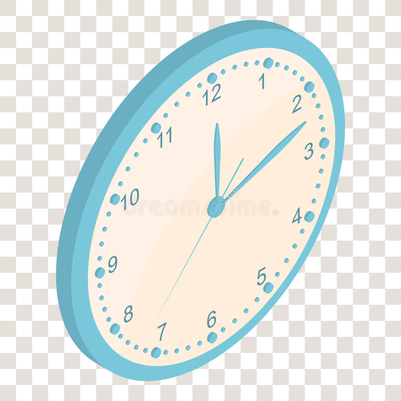 Isometrische Muurklok clockwise De Heldere Wijzerplaat royalty-vrije illustratie