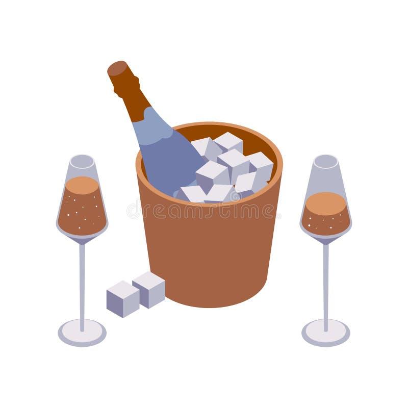 Isometrische Nahaufnahmeszene mit zwei Weingläsern und Scheinweineimer mit den Würfeln und Blasen lokalisiert auf Weiß stock abbildung
