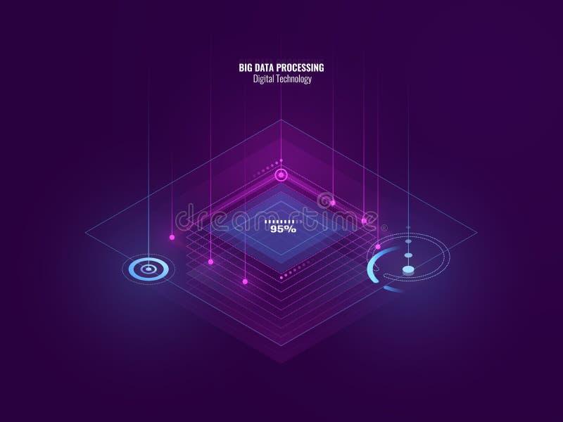 Isometrische neonbanner van digitale technologie, grote gegevens - verwerking, serverruimte, toekomst van technologie, verlichtin vector illustratie