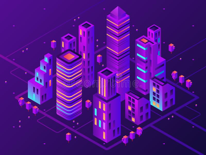Isometrische Neonstadt Futuristische belichtete Stadt, zukünftige megapolis Landstraßenbeleuchtung und Vektor des Geschäftsgebiet stock abbildung