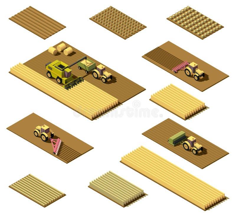 Isometrische niedrige landwirtschaftliche Polymaschinerie des Vektors stock abbildung