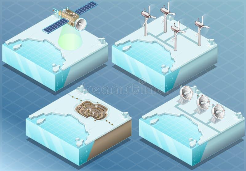 Isometrische Noordpoolsatelliet, Windmolen, Mijn, Radar stock illustratie