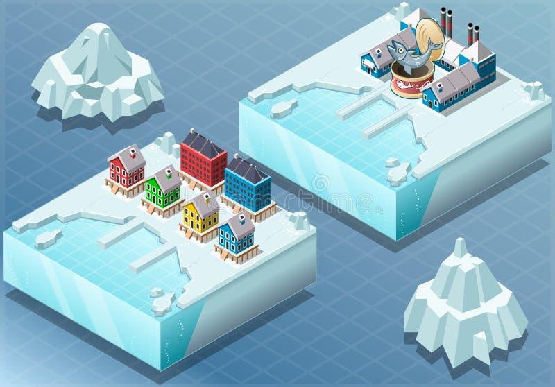 Isometrische Noordpoolstad en Vissen Conservenfabriek
