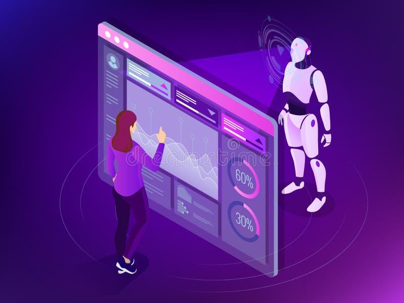 Isometrische Onderhoudsingenieur die met digitale vertoning werken Robot programmeringsconcept Kunstmatige intelligentie vector illustratie