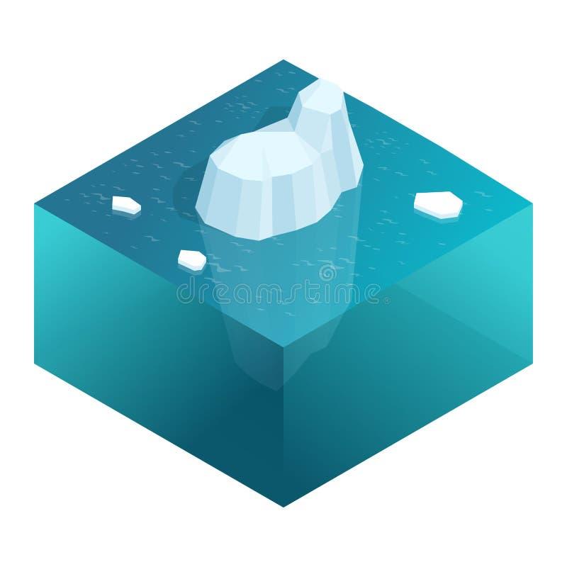 Isometrische Onderwatermening van ijsberg met mooie transparante overzees op achtergrond Vlakke vectorillustratie vector illustratie