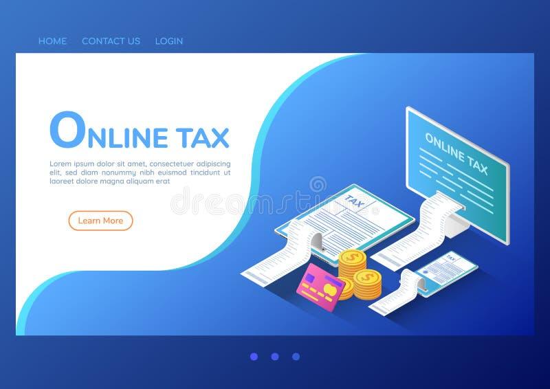 Isometrische online de belastingsbetaling van de Webbanner op computersmartphone en digitale tablet vector illustratie