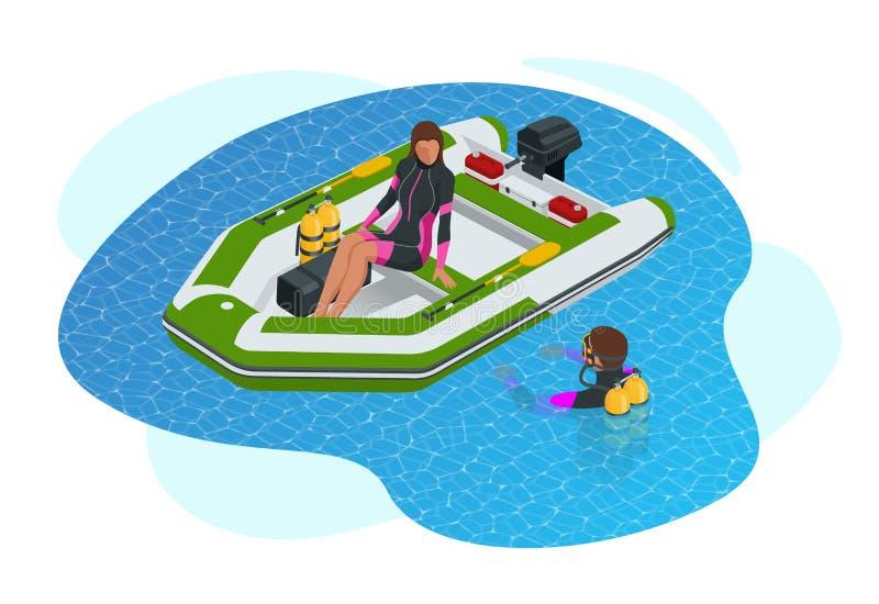 Isometrische opblaasbare boot Een moderne opblaasbare boot met stijve houten vloerplanken, een dwarsbalk en een opblaasbare kiel royalty-vrije illustratie