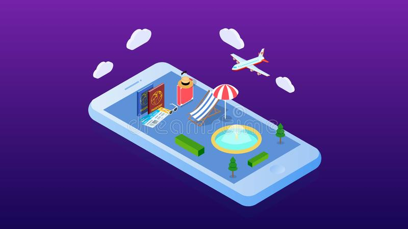 Isometrische openluchtwaterpool Vector illustratie 3D ontwerp voor infographics en kaartverwezenlijking De vakantieconcept van de vector illustratie