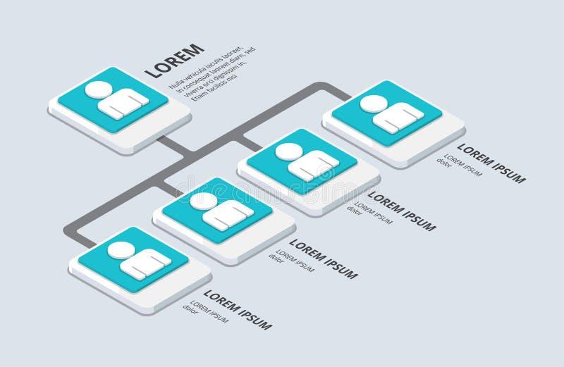 Isometrische organisatie en sturcture vlak 3d organisatie pop-u vector illustratie