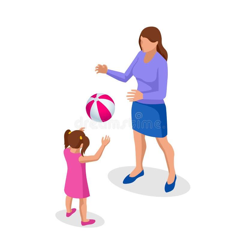 Isometrische Outdoor-Erholung für die Familie Freizeit Mutter und Tochter spielen Ball Spaß im Park oder auf dem Spielplatz vektor abbildung