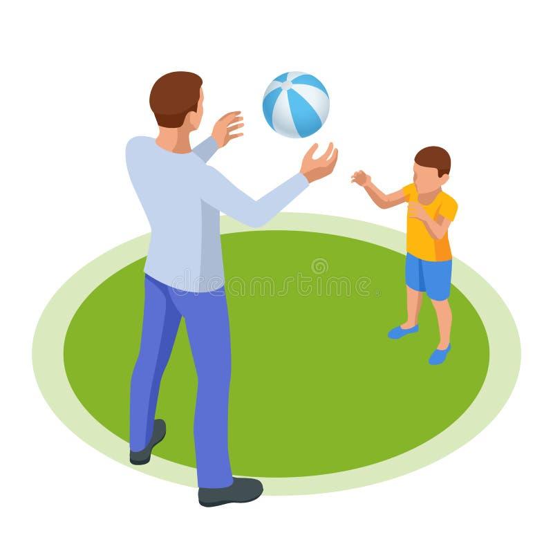 Isometrische Outdoor-Erholung für die Familie Freizeit Vater und Sohn spielen Ball Spaß im Park oder auf dem Spielplatz stock abbildung