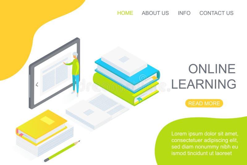 Isometrische persoon die grote tablet in het midden van handboeken gewijd aan online het conceptenvector van het onderwijslanding vector illustratie