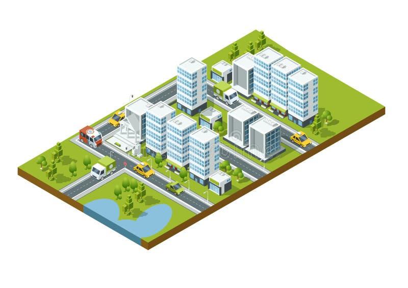 Isometrische Perspektivenstadt mit Straßen, Häusern, Wolkenkratzern, Parks und Bäumen lizenzfreie abbildung