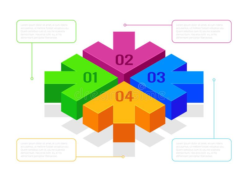 Isometrische Pfeile mit Flussdiagramm, Arbeitsfluß oder Prozess-infographics Pfeile der nächsten Schritte für Darstellungen Vekto lizenzfreie abbildung